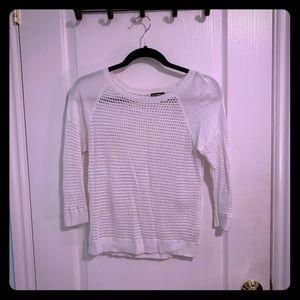 Express White Crochet Sweater